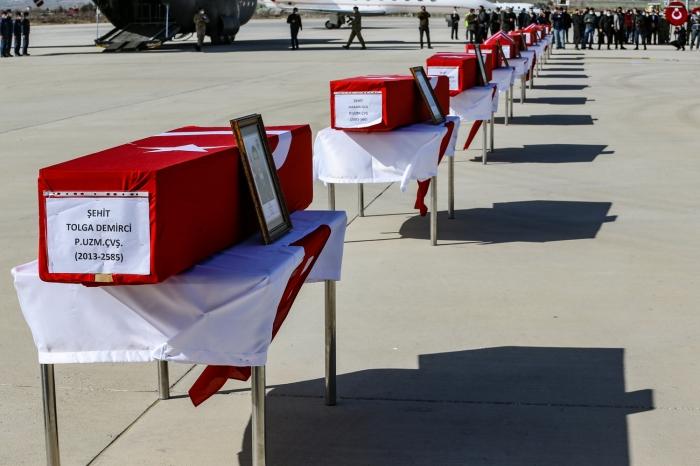 Türkiye'de Şehit Olan 11 Asker İçin Elazığ'da Uğurlama Töreni Yapıldı