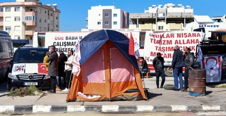 Taşımacıların Salı Günü Lefkoşa'da Başlattığı Araçlı Eyleme Devam Ediyor